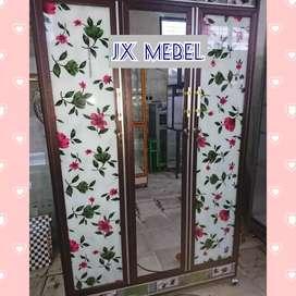 JX MEBEL Lemari Pakaian Aluminium 3 Pintu