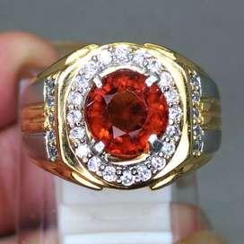 Cincin Batu Mandarin Garnet Orange Ceylon Asl