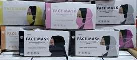 Masker Hijab 3 Ply Warna Putih 50 psc