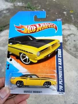 Rare Diecast Hotwheels Plymouth AAR Cuda Kuning Mengambang
