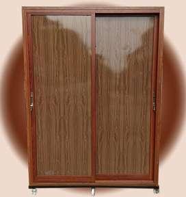LEMARI GANTUNGAN BAJU SLIDING DOOR PLUS ACP MAPLE WOOD