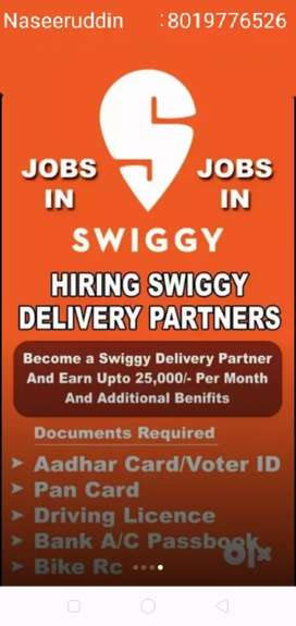 Wanted delivery executives in swiggy company for full-time & part-time