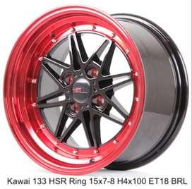 velg racing celong KAWAI 133 HSR R15X7/8 H4x100 ET18 BK/RED
