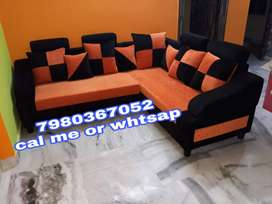 Brand new 5 seater sofa set in black and orange color
