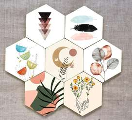 Walldecor hexagonal set of 9