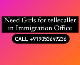 Girls tellecaller Required in Immigration Office