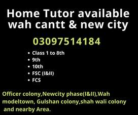 Home tuition available in wah cantt for class 1 to 12th