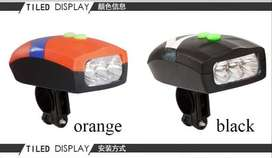 Bicycle Head Light + Cycle Horn, 3-White LED Lights