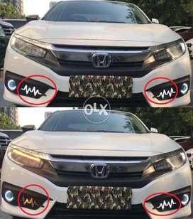 Honda Civic 2016-18 Front & Rear Heart Beat Style DRL Fog Lamp Cover