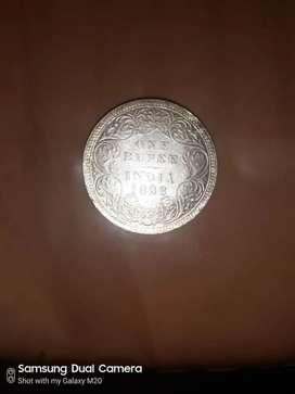 Old indian coin. Original silver coin 1888