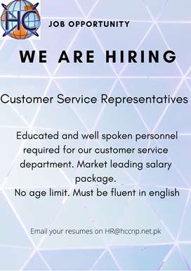 Customer service representatives required urgently in abbottabad