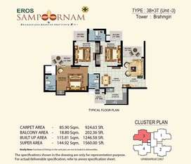 3 BHK 1560 SQ FT ONLY 53 LAKH IN EROS SAMPOORNAM