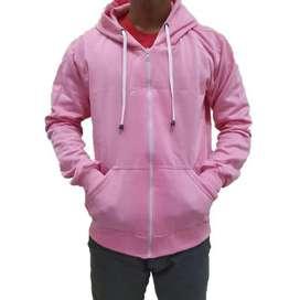 Jaket jemper pink polos