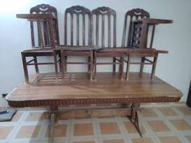 Sheesham wood dining table with 6 chair and showcase