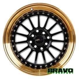 Velg mobil Ring 15 HSR Namlea JD216 Black Gold   Honda Jazz Yaris Mazd
