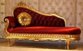Kursi sofa mewah gold kombinasi busa, kayu jati, free ongkir