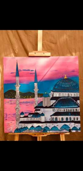 Blue mosque oil painting