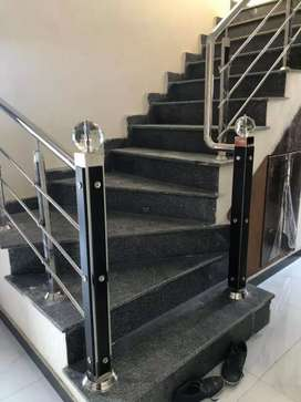 Stainless Steel Stairs Railing and Elevation