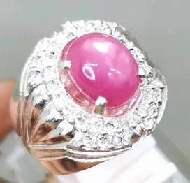 Natural Cincin Batu Akik Permata Ruby Pink Ring Perak Asli Bisa COD