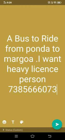 Driver in from ponda n margoa . heavy vehicle licence  please meassage