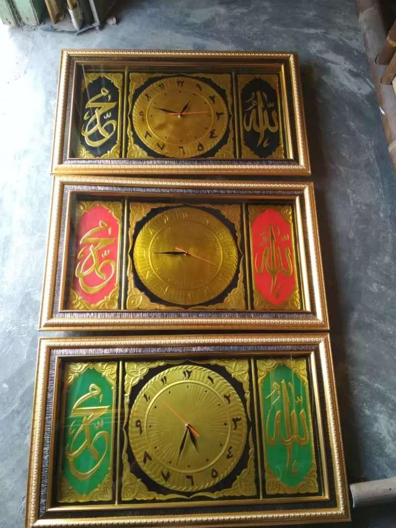 Jam kaligrafi lukisan bingkai foto cermin terima lukis Poto 0