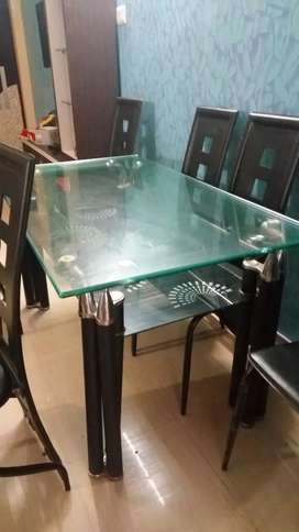 Dining Table with Glass top and 6 chair