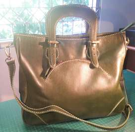 Green Lady's Handbag Genuine Leather with strap