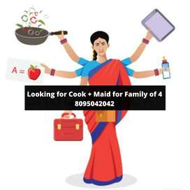 Wanted Female Cook cum Maid HouseKeeping Job for family of 4