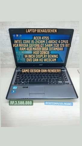 Laptop acer 4755 corei 5 pakai vga Game design dan render