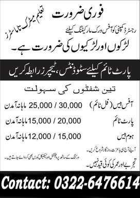 Part Time Vacancies For Lahore Students
