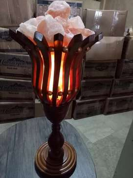 Salt lamp with wooden frame