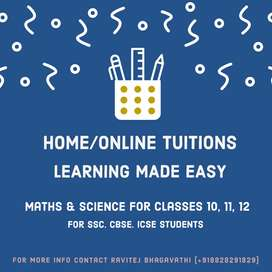 Home/Online Tuitions for Classes 10, 11, 12