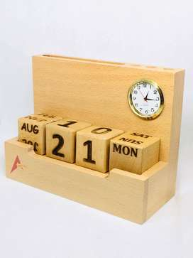 Wooden Calendar forever with Clock, Visiting Card Holder& Pen Holder