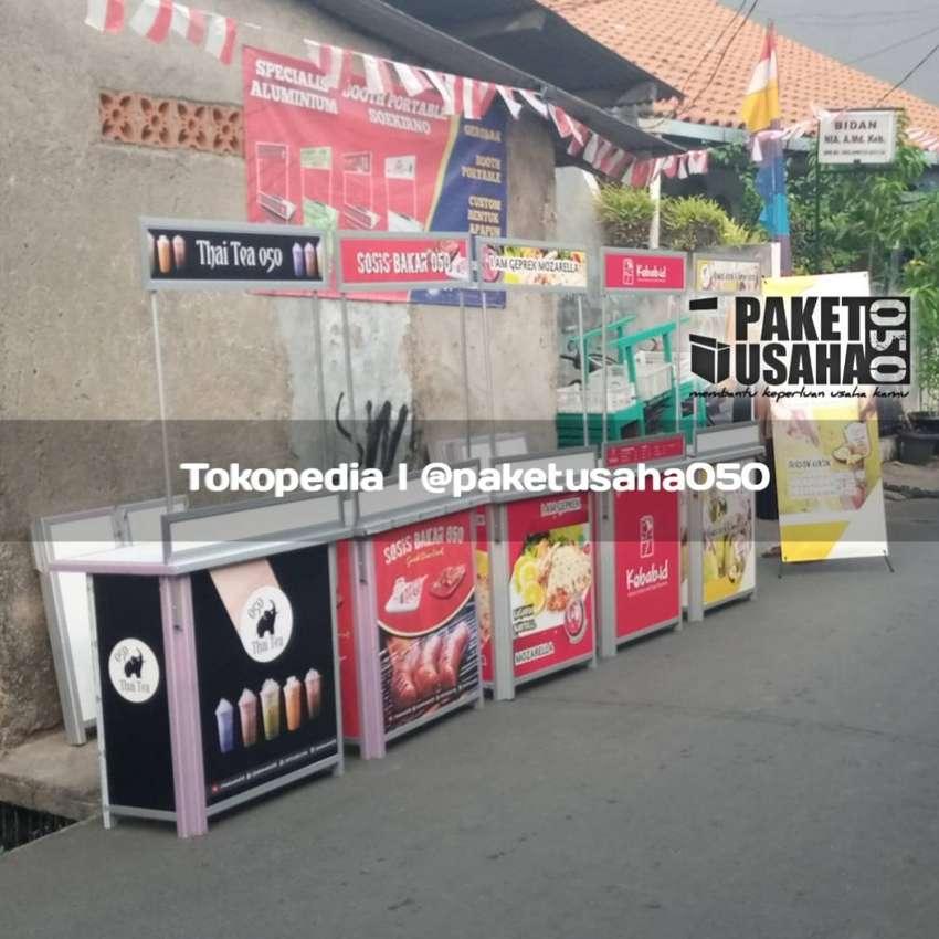 booth portable meja lipat, container stand promosi gerobak lipat rak 0