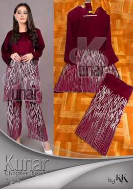 Kunar ( 2 pcs Suit )  Fabric Linin  Measurement   Price *1400/-*