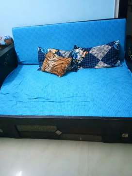 One single bed , one Sofa cum bed and two wooden chair with box combo