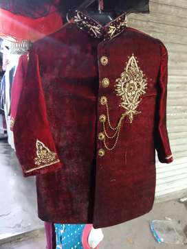 Sharwani black and maroon