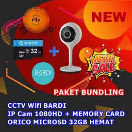 CCTV Wifi BARDI IP Cam 1080HD + MEMORY CARD ORICO MICROSD 32GB HEMAT