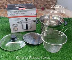 Steam friying cooking pot