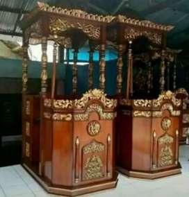 Mimbar masjid ukir material kayu jati ajf336