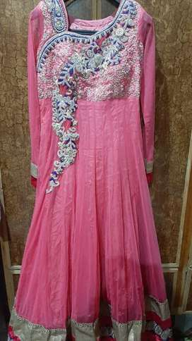 Indian Net frock with net duppta and silk trouser