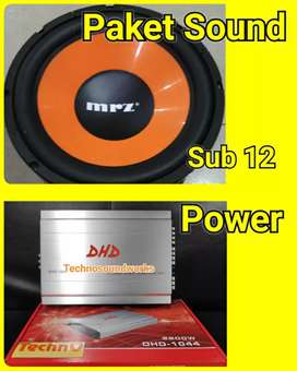 Paket sound audio mobil power + sub woofer 12 in for tv mobil