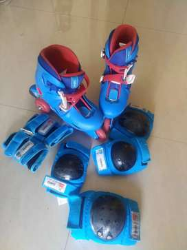 Skates with all protective gear