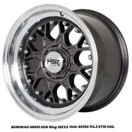 new velg racing hsr BUNIWAH H8001 HSR R15X75 H8X100-114,3 ET18 GML