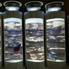 Aquarium Tabung Mini Backdrop Tebing Batu