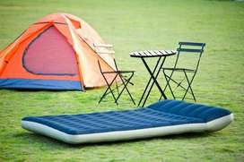 Camping Air Bed flat sheet and comforter with standard however, it has
