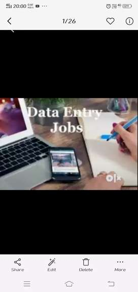 Data entry work in office