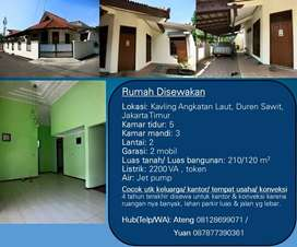 Rumah Disewakan di Duren Sawit, Jakarta Timur 5 Kamar 2 Lantai