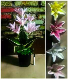 Bunga hias artificial imitasi palsu plastik lily 10 kuntum