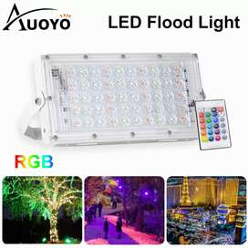 RGB flood light with remote control 50W LED waterproof IP66 ultra ligh